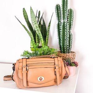 Tab Brown Crossbody Leather Bag Purse